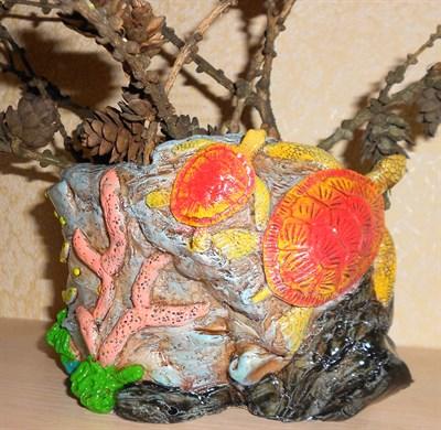 Кашпо камень с морскими черепахами - фото 5130