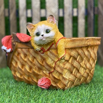 Кашпо корзинка с котенком (б) розовая - фото 5471
