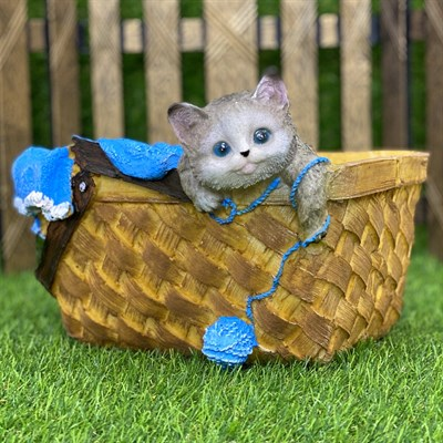 Кашпо корзинка с котенком (б) синяя - фото 5477