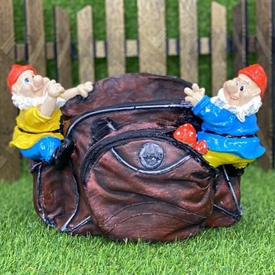 Кашпо сумка с гномами коричневая - фото 5483