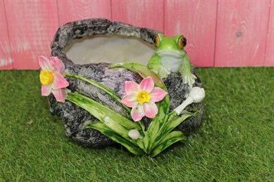 Кашпо камень с лягушкой - фото 4694