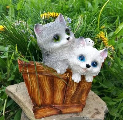 Кашпо котята в корзине - фото 4868
