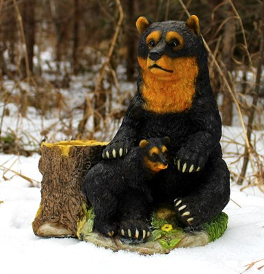 Кашпо медведь с медвежонком - фото 4987