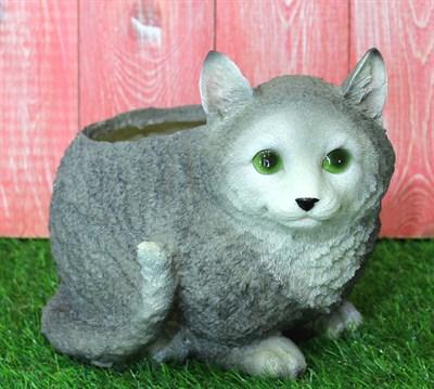 Кашпо кот серый - фото 5126