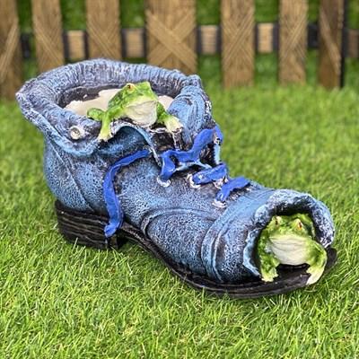 Кашпо ботинок с лягушками синий - фото 5447