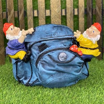 Кашпо сумка с гномами синяя - фото 5495