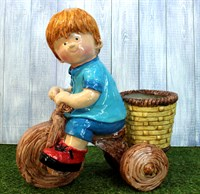 Кашпо мальчик на велосипеде